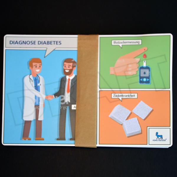 Banderolieren: Papierbanderole um Verbraucherkärtchen, Ecken gerundet