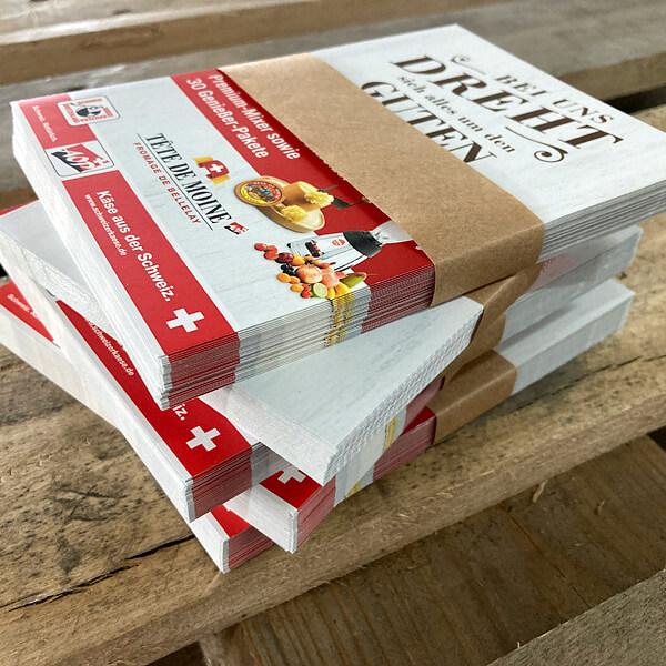 Bündeln: Papierbanderole um Verbraucherinformation