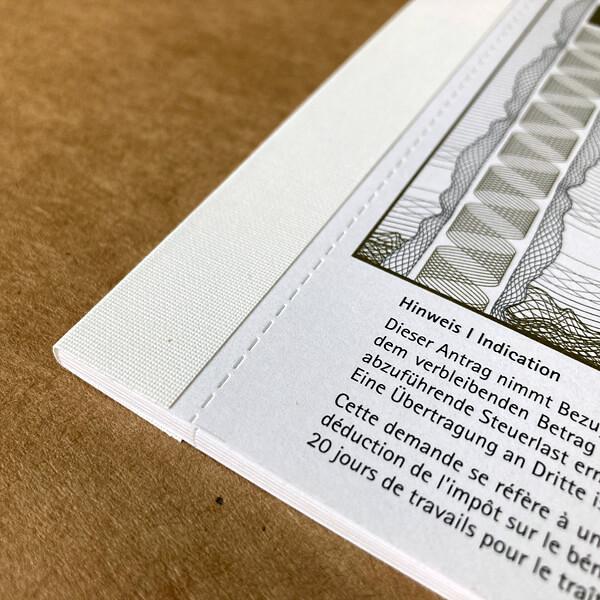 Fälzeln: Fälzelband weiß hochwertig in Kombination mit Perforation