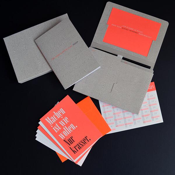 Individualpaket: Mailing mit Fächermappe, Grußkarten, Kalenderblatt und Notizheft