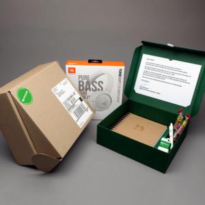 Verpackung: Mailing Werbegeschenke in Umverpackung mit Versandverpackung